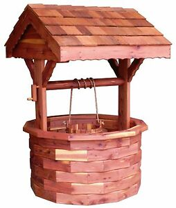 Image Is Loading Amish Handcrafted Large Cedar Wishing Well Outdoor Lawn