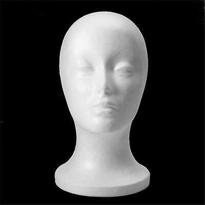 Female Head Model Wig hair Hat Display Styrofoam Foam Mannequin Manikin WHITE