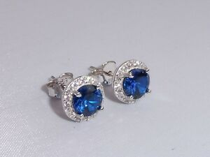 Damen-Sterling-925-Silber-Blau-und-Weiss-Saphir-Cluster-Ohrringe