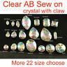 Sew on Ear claw clear ab teardrop/oval/rectangle/ crystal rhinestones pk sz&qty