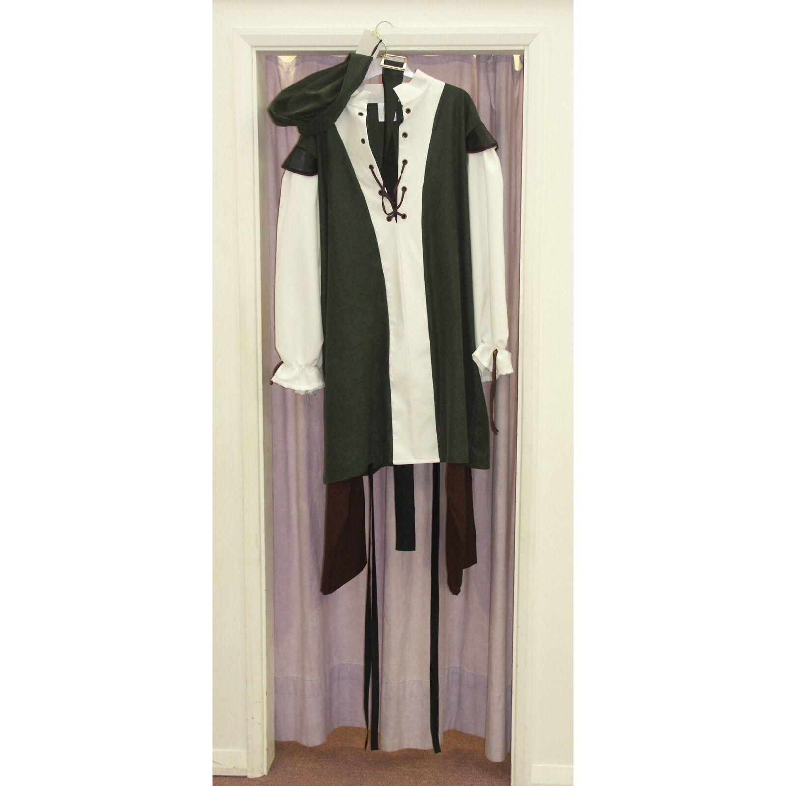 Men's Green Cream Medieval Nobleman Fancy Dress Costume Small Brand new (117B)