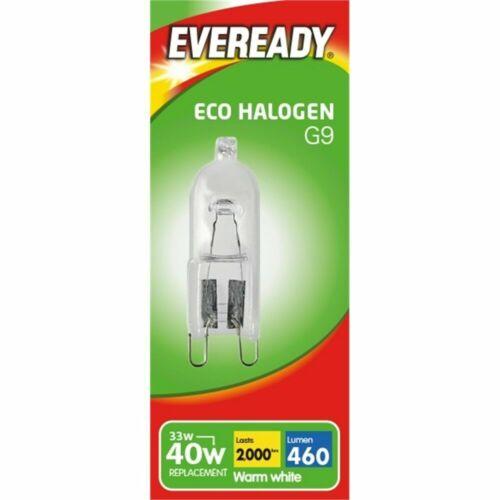 10x G9 33W Eveready Warm White ECO Halogen Clear DIMMABLE bulb Watt 240V Clear