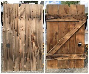 Antique-Primitive-Wood-Barn-Door-Early-1900s-Measures-70-x42-W-Orig-Hardware