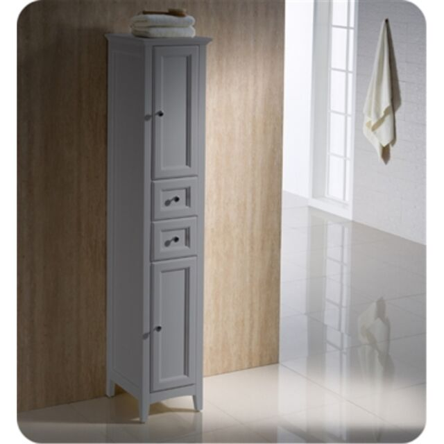 Fresca Oxford Gray Tall Bathroom Linen, Tall Bathroom Linen Cabinets