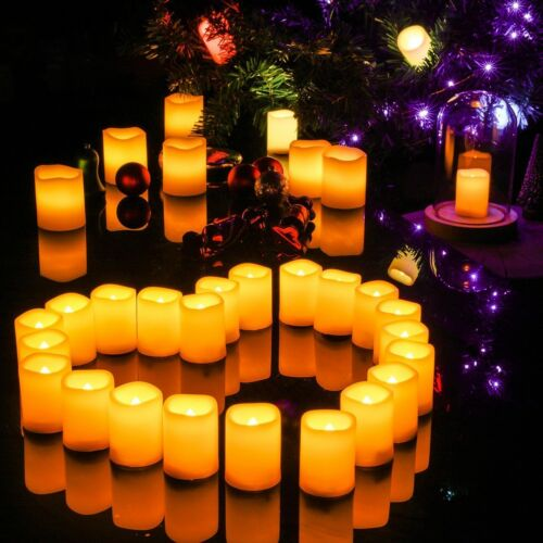 4 Flickering Resin LED Candle Lights