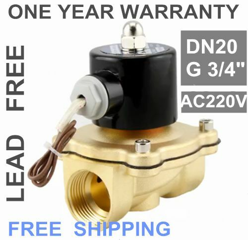 "G3//4/"" BSPP 2W-200-20 Brass Electric Solenoid Valve Water Oil Air Gas N//C AC 220V"