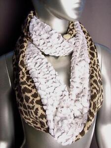 NEW-WARM-Brown-Beige-Leopard-Knit-Faux-Fur-Chinchilla-Infinity-Cowl-Wrap-Scarf