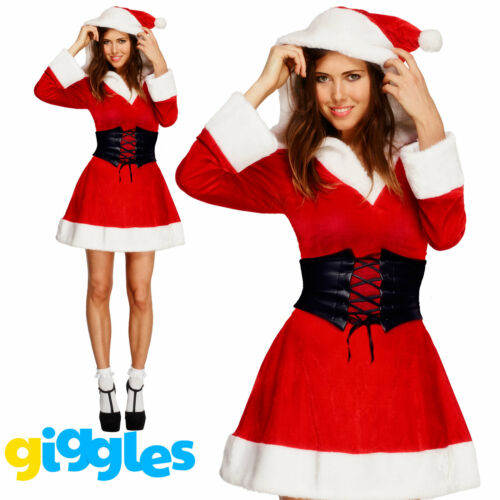 Mrs Santa Claus Costume Womens Miss Father Christmas Xmas Fancy Dress Outfit
