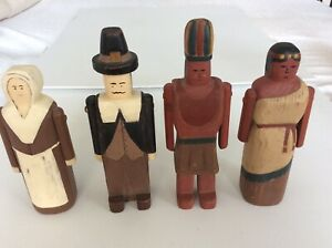 Set-4-Rare-Wolf-Creek-Hand-Carved-Thanksgiving-Pilgrims-Indians-Native-Americans