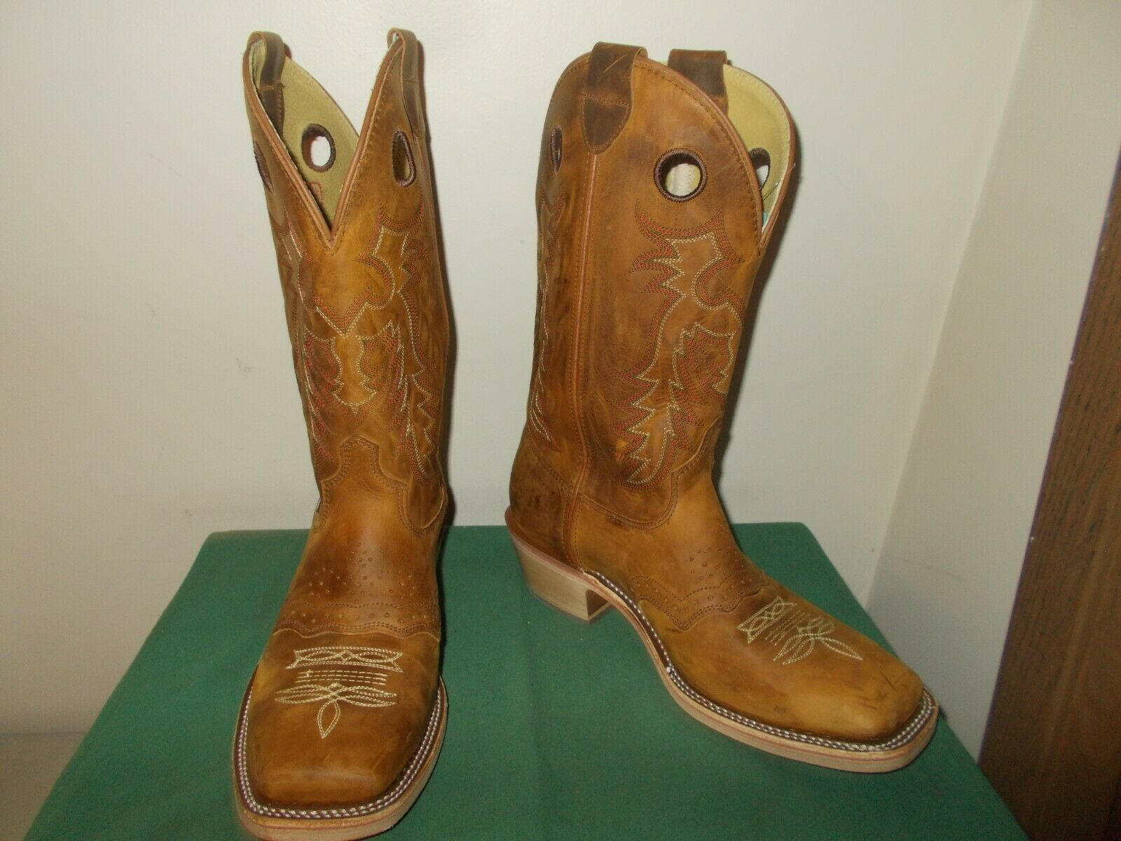 Mens 13 Inch Square Toe Old Town Buckaroo Western Cowboy Boots 12 EE Leather NEW