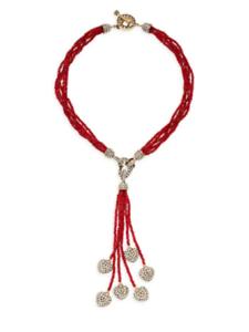 Heidi-Daus-034-Sweet-Heart-034-Beaded-Tassel-Heart-Drop-Necklace-Stunning-NWT