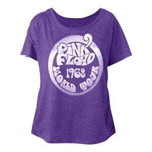 Pink-Floyd-World-Tour-1968-Purple-Women-039-s-Dolman-Top-Rock-Band-Concert-T-Shirt
