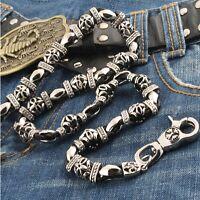 Synthetic Leather Medieval Trucker Biker Key Jean Wallet Chain Cs45 (27) Black