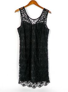 Mud-Pie-NWT-Womens-Size-Medium-8-10-Black-Mallory-Crochet-Dress