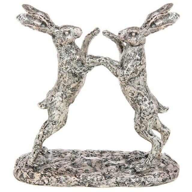 Resin Champagne Bronze Boxing Hare Statue / Figurine / Ornament Fathersday Gift