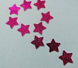 50 x Sparkly Pink STARS Waterproof Peel Off Shiny Stickers Self Adhesive