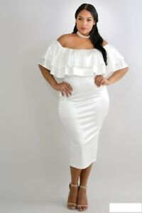 Plus Size White Ruffle Off Shoulder Stretch Shine Bodycon Midi Dress ... 680eb48dbef8