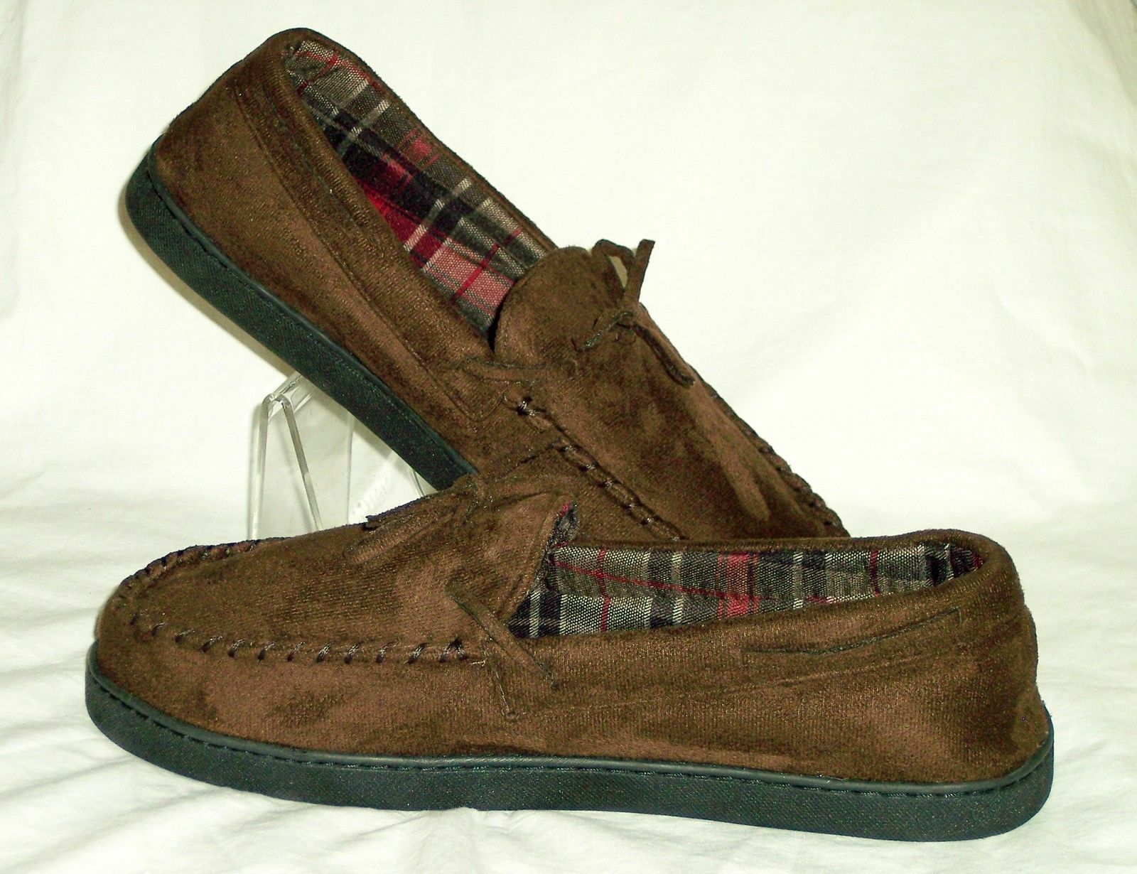 Pantofole da uomo uomoS Club Room Moccasin Slip-On Slipper Faux Suede Brown Mark Sz XL-11-12