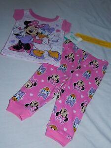 NEW DISNEY BABY Girls/' Minnie Mouse /& Daisy Duck 2pc Short Sleeve Pajamas