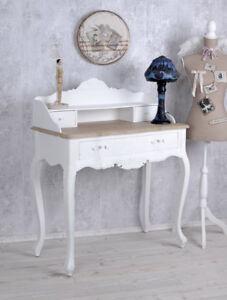 Table-Console-Secretaire-Shabby-Chic-Bureau-de-Mur-Blanc-en-Bois