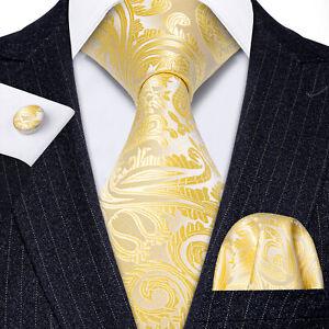 Classic Mens Tie Sets Silk Yellow Gold Paisley Necktie Set Neck Tie Fashion  | eBay