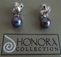 Honora Black Freshwater Pearl Sterling Silver Drop Earrings Boxed Bag Qvc