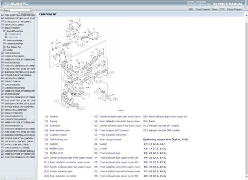 Factory Workshop Service Repair Manual SUBARU FORESTER 2008-2013 faisceau de câblage