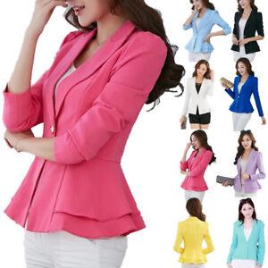Women-Slim-OL-Suit-Casual-Blazer-Jacket-Coat-Tops-Outwear-Long-Sleeve-CHEAP-SLIM