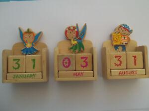 Details zu Englisch Dauerkalender Tischkalender Holz Fee Pirat Kinder  Kalender Kinderzimmer