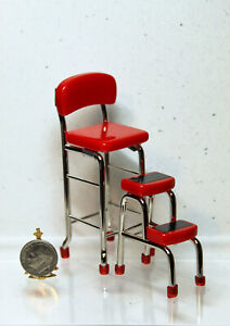 Details about Dollhouse Miniature Retro Red Kitchen Chair & Stool Combo