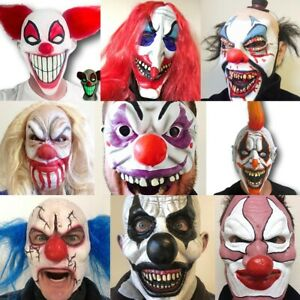 Clown Mask with LED Halloween Scary Adult Kid Bloody Cosplay Costume Dress