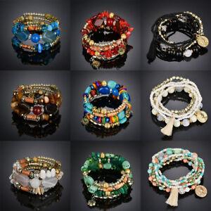 femmes-Bracelet-Pierre-Perles-Gemme-Bijoux-Mode-Turquoise-Agate-Chaine-Set-Neuf