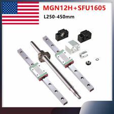 2x Mgn12h Linear Silde Railballscrew Sfu1605 250 450mm End Machine Bkbf12 Set
