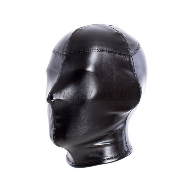 Soft Leather Full Cover Zip Mask Headgear Nostril Breathable Slave Restraint