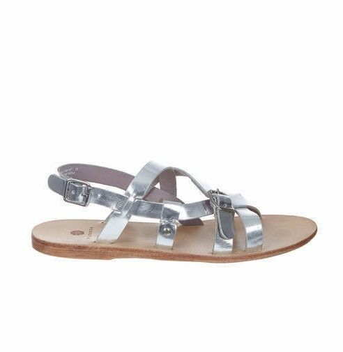 564cb4a90 H by Hudson Casual Metallic Silver Leather Flat Sandals Shoes Size 8 41 US  10 UK 5