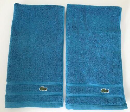 Lacoste Bath Hand Towel Set 2 Piece Lagoon Croc 16x30 NWT