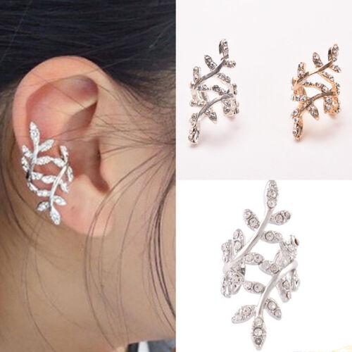 Women Punk Chic Retro Earings Crystal Leaf Ear Cuff Warp Clips Ears Clip'Eari ZY