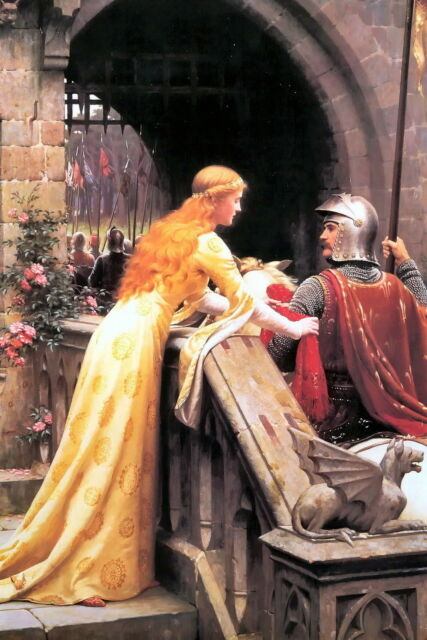 8x10 LEIGHTON Art Print GOD'S SPEED Medieval Love Romance Knight Chivalry Castle