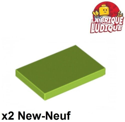 Lego 2x Tile plate smooth 2x3 with Groove green lemon//lime 26603 NEW