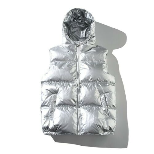 Men/'s Hooded Vest Quilted Glossy Cotton Padded Sleeveless Jacket Waistcoat New D