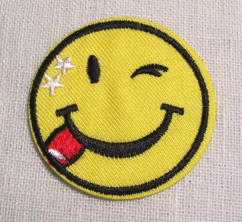 ÉCUSSON PATCH BRODÉ thermocollant SMILEY TÊTE RONDE CLIN D'ŒIL ** 5 cm **
