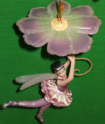 Flying Fairy w Purple Flower Umbrella Ornament by Katherines Collection Retired