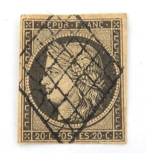 1849-FRANCE-CERES-20c-IMPERF-USED-HINGED-GOOD-MARGINS-GRILL-CANCEL-NICE-GRADE-2