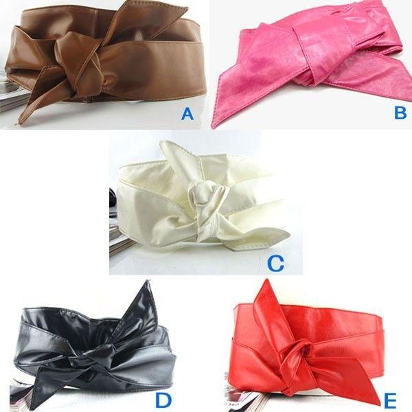 New Stylish PU Leather Womens Wrap Around Tie Corset Cinch Wide Waist Belt Band