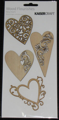 Kaisercraft Wooden Flourishes /'HEARTS/' Love You choose *NEW* KAISER