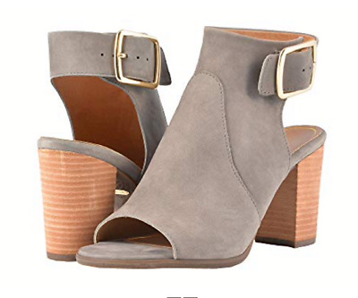 Vionic Orthaheel PERK BLAKELY Leather Heeled Sandals Shoes GRAY Size 6W NIB