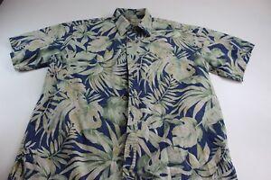 Cooke-Street-Honolulu-Green-Blue-Floral-CAMP-SHIRT-Large-L
