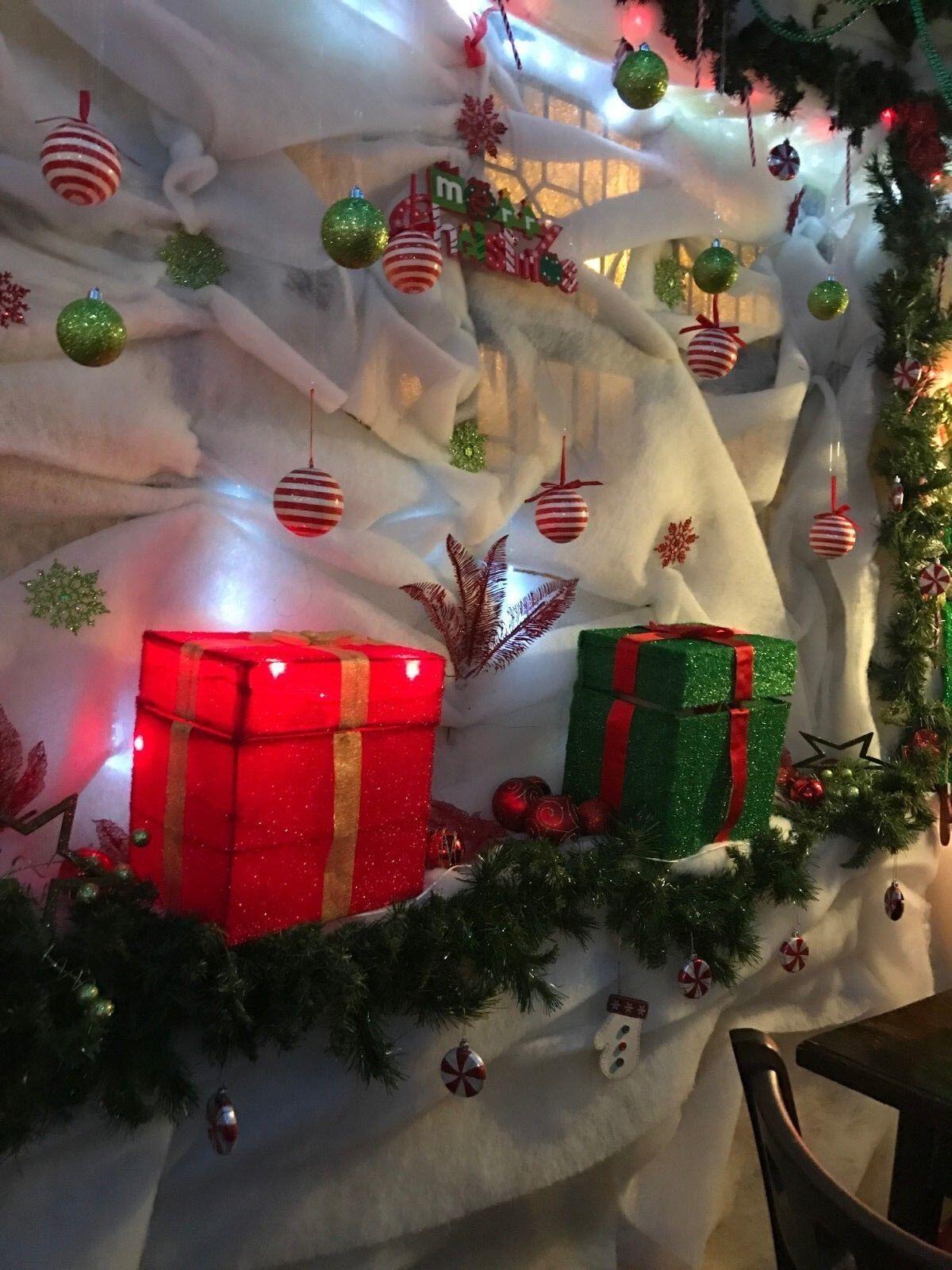 ALBERO di Natale neve neve neve decorazione base VETRINA Babbo Natale Grossoto Natale Neve Scena ab350b