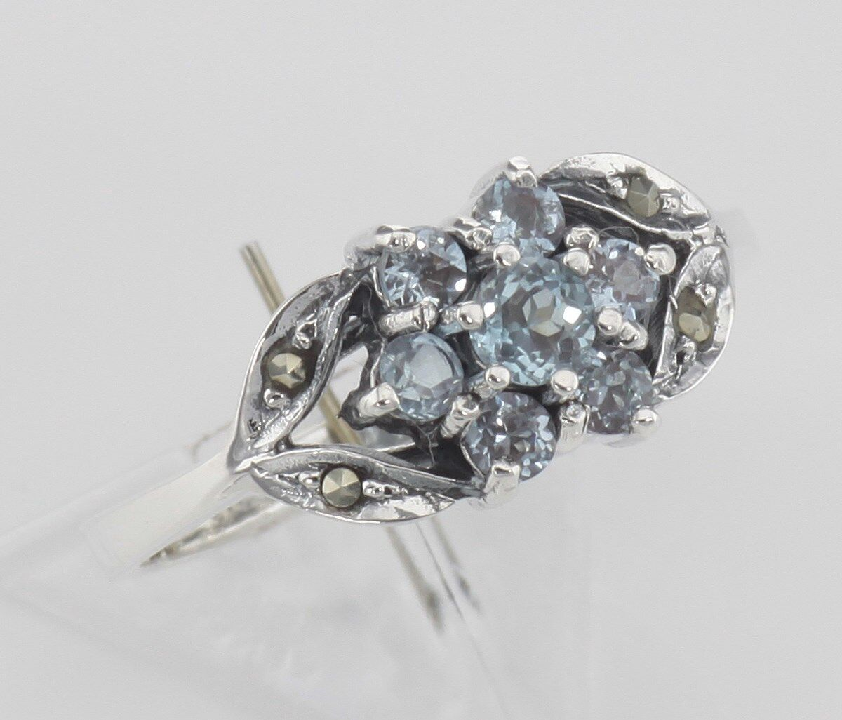 bluee Topaz Marcasite Ring Flower Design Sterling Size 7 1 4 - Free Shipping