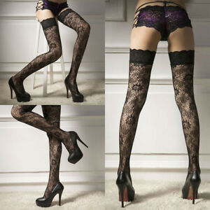 022026177 Sexy Womens Ladies Black Floral Sheer Lace Top Thigh High Stockings ...